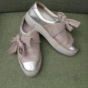 AGL bow slip-on platform leather sneakers